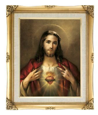 Sacred Heart Of Jesus Framed Art Under Glass Overall Size 16x20