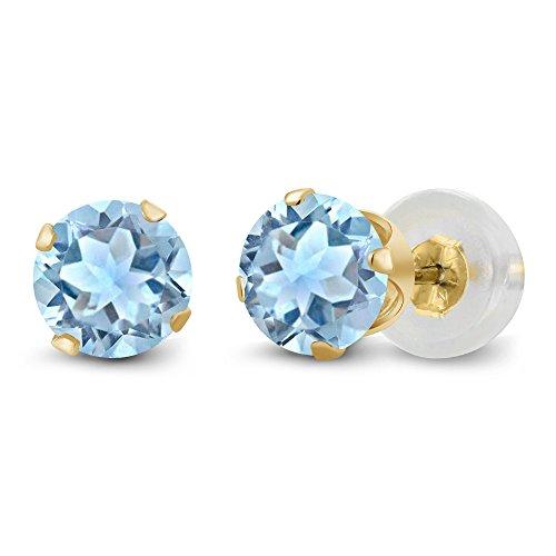 1.20 Ct Sky Blue Topaz Gemstone 14K Yellow Gold Stud Womens Earrings