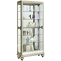 Pulaski P021568 Mirrored Metallic Side Entry Curio Cabinet 35.3 x 13.3 x 78.0