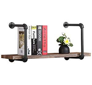O&K Furniture 1-Tier Rustic Urban Style Metal Wall Mounted Ledge Shelf, 31-Inch Industrial Pipe Book Shelves Home Organizer Storage