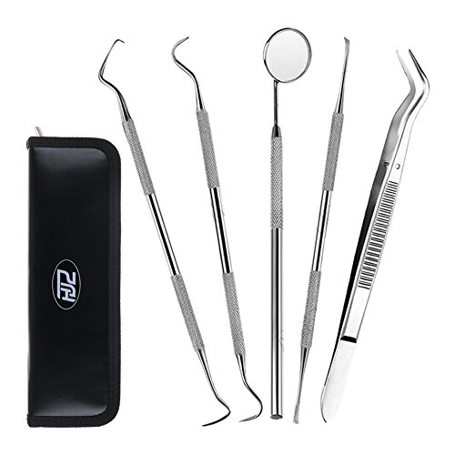 HJZ Dental Hygiene Kit - 5 Piece Stainless Steel Dentist Tools - Anti-Fog Mirror, Dental Scaler, Tarter Scraper, Dental Pick, Dental Tweezers For Calculus & Tartar Removal, Gum Health, Teeth Cleaning
