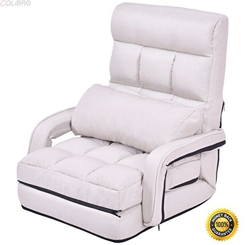 COLIBROX--Beige Folding Lazy Sofa Floor Chair Sofa Lounger Bed with Armrests and Pillow,floor chair with back support,best floor chair, Folding Lazy Sofa,Sofa for sale,portable floor chair