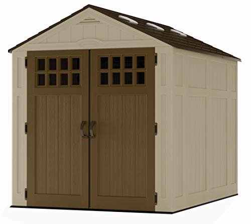 Suncast 6' x 8' Everett Vertical Storage Shed - Outdoor Storage for Backyard Tools and Accessories - All-Weather Resin Material, Transom Windows and Shingle Style Roof - Wood Grain Texture (Vinyl Sheds & Outdoor Storage)