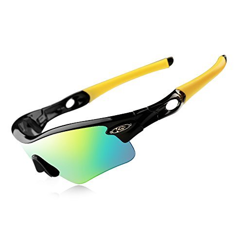 CoolChange Polarized Sports Sunglasses Cycling Glasses with 5 Interchangeable Lenses