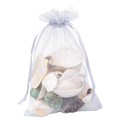 Pandahall 100 PCS 5x7 inch LightGrey Organza Drawstring Bags Party Wedding Favor Gift Bags - Drawstring Favor