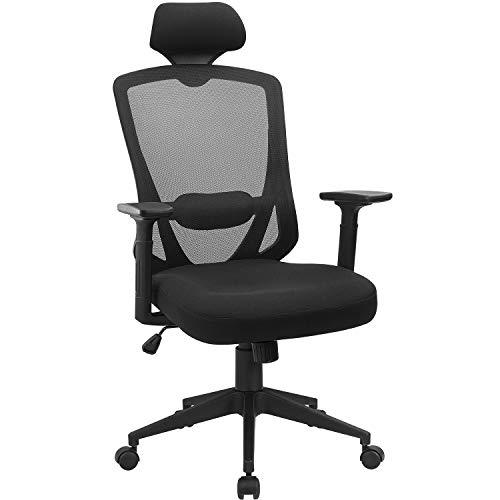 JUMMICO Black Office Chair Ergonomic Executive Mesh Chair Adjustable Desk Chair Black