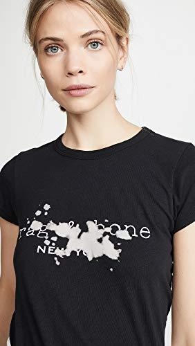 Mujeres Rag Negro Logotipo Bone De Camiseta And Blanqueador Con wwEBPHTq