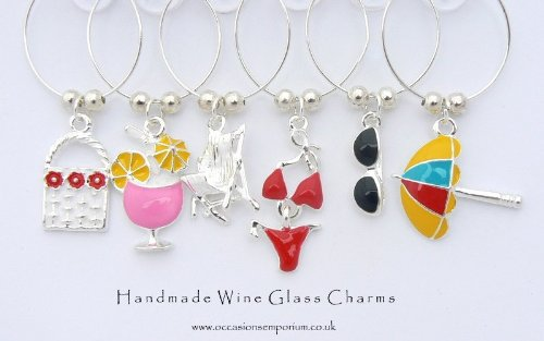 Charms and Occasions Ltd Beach Babe Enamel Wine Glass Charms