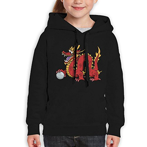 Price comparison product image Anraglan Chinese Dragon Girls Long Sleeve Pullover Hooded Sweatshirt Black Size M