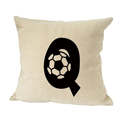 ''Q '' Soccer Initial Monogram Letter Q Bed Home Decor Faux Linen Pillow Cover by Style in Print