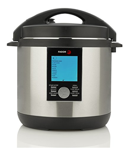 Fagor LUX LCD Multicooker – Digital Pressure Cooker, Slow Cooker, Rice Cooker and Yogurt Maker – 8 quart, Stainless Steel (935010063)