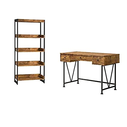 Wondrous Amazon Com 2 Piece Rustic Desk And Bookshelf Set Kitchen Download Free Architecture Designs Scobabritishbridgeorg