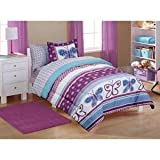 Purple and Blue Bedding Sets 5pc Girl Purple Blue Butterfly Polka Dot Twin Comforter Set (5pc Bed in a bag)
