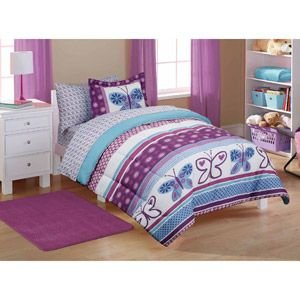 - 5pc Girl Purple Blue Butterfly Polka Dot Twin Comforter Set (5pc Bed in a bag)