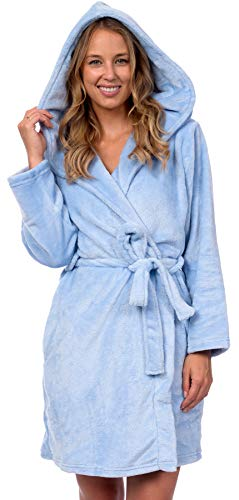 (Patricia Women's Premium Soft Plush Robe Mid Length with Hood (Cashmere Blue, L/XL))
