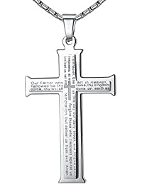 """Men's Stainless Steel Large Our Father Lord's Prayer Cross Pendant Necklace, 23"""" Chain"""