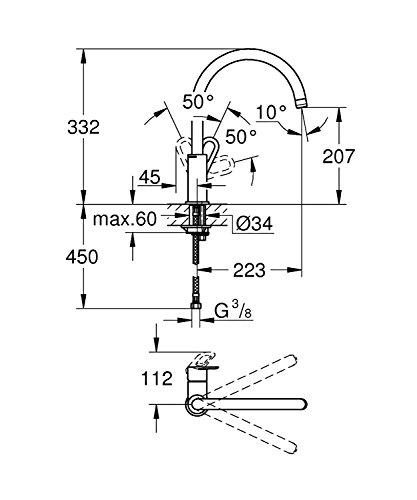 Miscelatore Cucina Grohe ad Arco Monocomando Cromato Modello 31374000 Start Loop