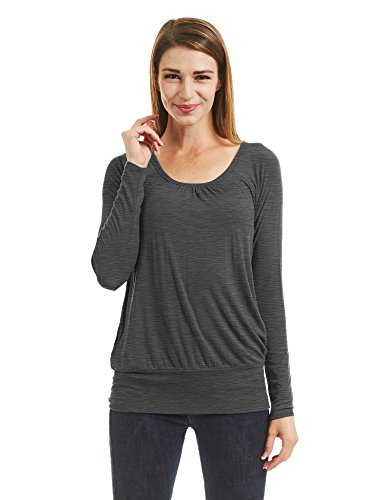 WT1473 Womens Scoop Neck Long Sleeve Front Pleated Top XL HEATHER_CHARCOAL by Lock and Love (Image #5)