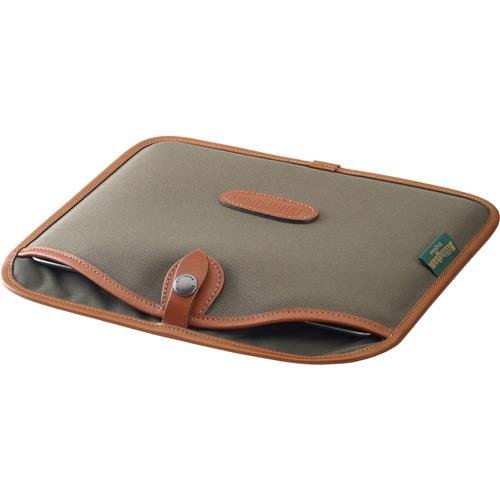 Billingham Slip Case for iPad or Similar-Size Tablets, Sage FiberNyte with Tan Leather Trim by Billingham