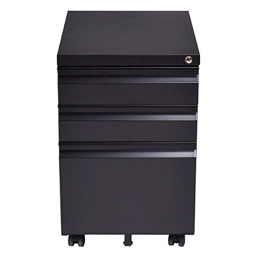 Black Mobile Filing Storage Cabinet 3 (Antique Brushed Nickel Convertible)
