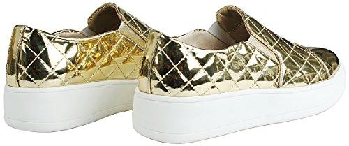 Kvinnor Slip-on Vadderade Konstläder Flatform Tjockt Gummi Plattform Enda Mode Sneakers Guld