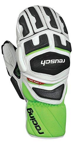 Reusch Racing Gloves - Reusch Snowsports Race-Tec 14 Giant Slalom Ski Mittens, Medium, White/Neon Green
