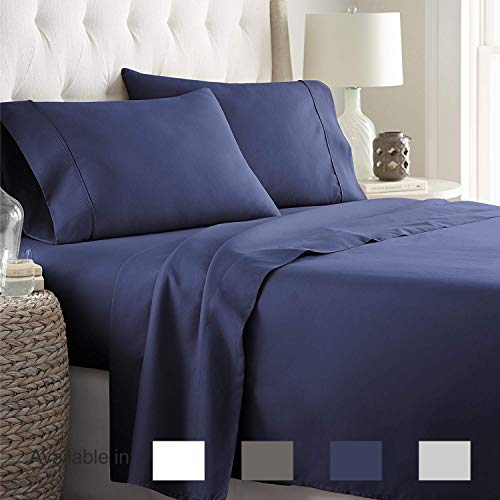 Full Sheets Extra Deep Pockets 15 Inch 500 Thread Count 4 Piece Sheet Set 100% Cotton Sheet Set Navy Blue Solid Sheet,Long Staple Cotton Bedsheet and Pillow Cover,Sateen Finish,Soft,Breadthable ()