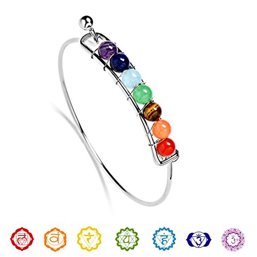 Silver Wire Wrapped Bracelet (Chakra bracelet, wire wrapped gemstone bangle, 7 chakra bangle stacking bracelet, yoga jewelry, chakra jewelry, (silver))