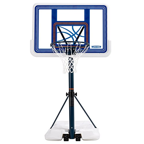 Lifetime 1306 Pool Side Height Adjustable Portable Basketball System, 44 Inch Backboard - Four Seasons Family Ring