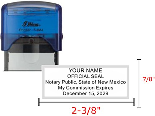 Shiny Blue Notary Stamp | Self Inking, Printer S-844, 2.3x0.81 inch Prints | New Mexico by Hubco