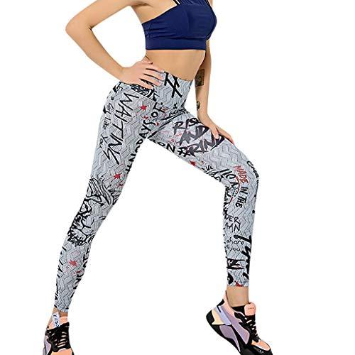 (ERLOU Women's Pants Needle Six Line Digital Print Yoga Thread Pants and Hips High Waist Thread Trousers Leggings✌ (Gray B, S))