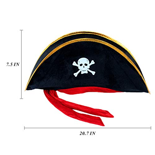 2 Pieces Pirate Hat Skull Print Pirate Captain Costume Cap - Pirate Accessories Funny Party Hat for  - http://coolthings.us