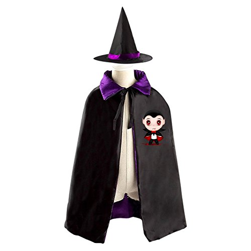 Magician Zombie Kids Halloween Cloak Witch Reversible Cape and Hat Costumes for Boys (Diy Scarecrow Costume)