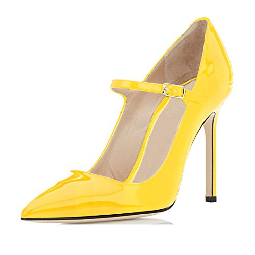 Sammitop Women's Shoe Classic Mary Jane Pointed Toe High Heel Pump Yellow Size US9 ()