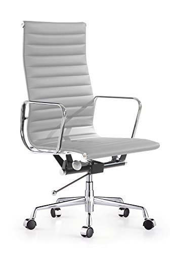 Aluminum Group Leather Ribbed High Back Management Chair - Grey (Aluminum Group Chair)