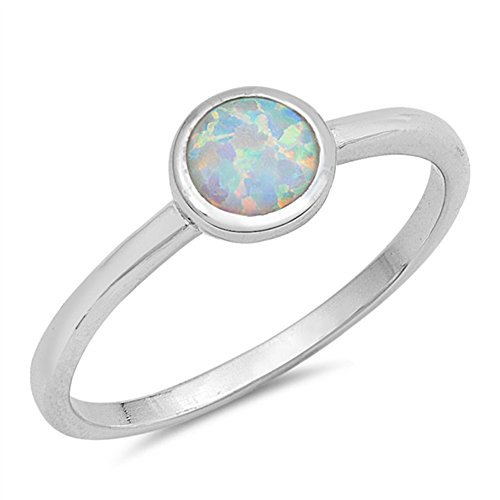 Opal White Ring - Round White Simulated Opal Classic Ring New .925 Sterling Silver Band Size 10