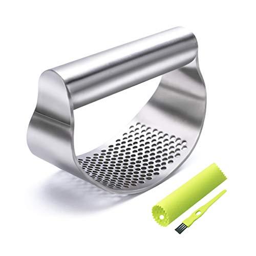 GuDoQi Garlic Press Rocker, Stainless Steel Garlic Chooper, Dishwasher Safe, Ergonomic Handle Garlic Mincer, Including Silicone Peeler, Cleaning Brush, Funny Kitchen Tools