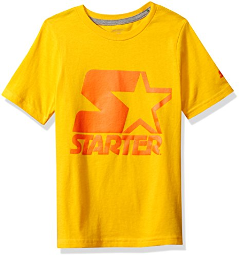 T-shirt Bold Yellow - Starter Boys' Short Sleeve Logo T-Shirt, Amazon Exclusive, Safety Yellow with Safety Orange, M (8/10)