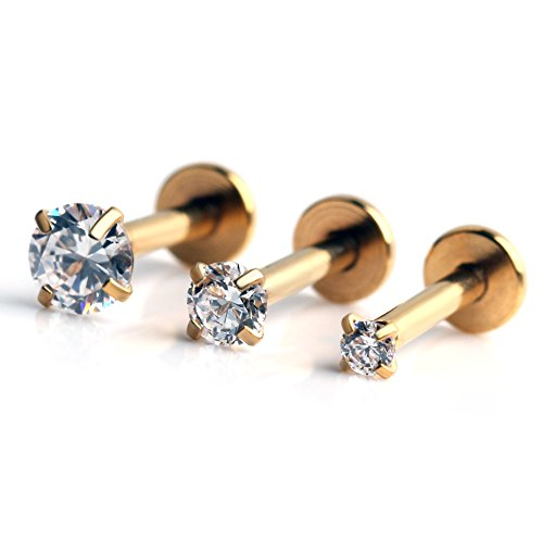 Gem Gold Plated Labret (Ruifan 316L Stainless Steel Gold Plated 2mm/3mm/4mm Round CZ Gem Internally Threaded Labret Monroe Lip Ring Tragus Nail Helix Earring Stud Barbell Piercing Jewelry Set 16G 6mm 3pcs)