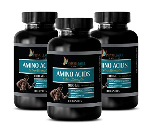 Muscle Mass Builder for Men - Amino ACIDS 1000 mg Complex - Extra Strength - l-theanine and l-tyrosine - 3 Bottles 300 Capsules by Private Label