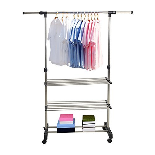KARMAS PRODUCT Single Rail Adjustable Clothes Rack Hanging Rack With Wheels and Shelves (Clothes Single Rail)