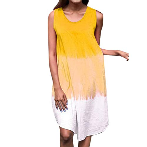 Sunhusing Women's Refreshing Summer Gradient Tie-dye Print Sleeveless Crew Neck Dress Beach A-Line Sundress -