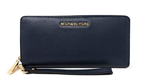 Zip Leather Continental Wallet - Michael Kors Jet Set Travel Continental Leather Wallet/Wristlet Navy Gold