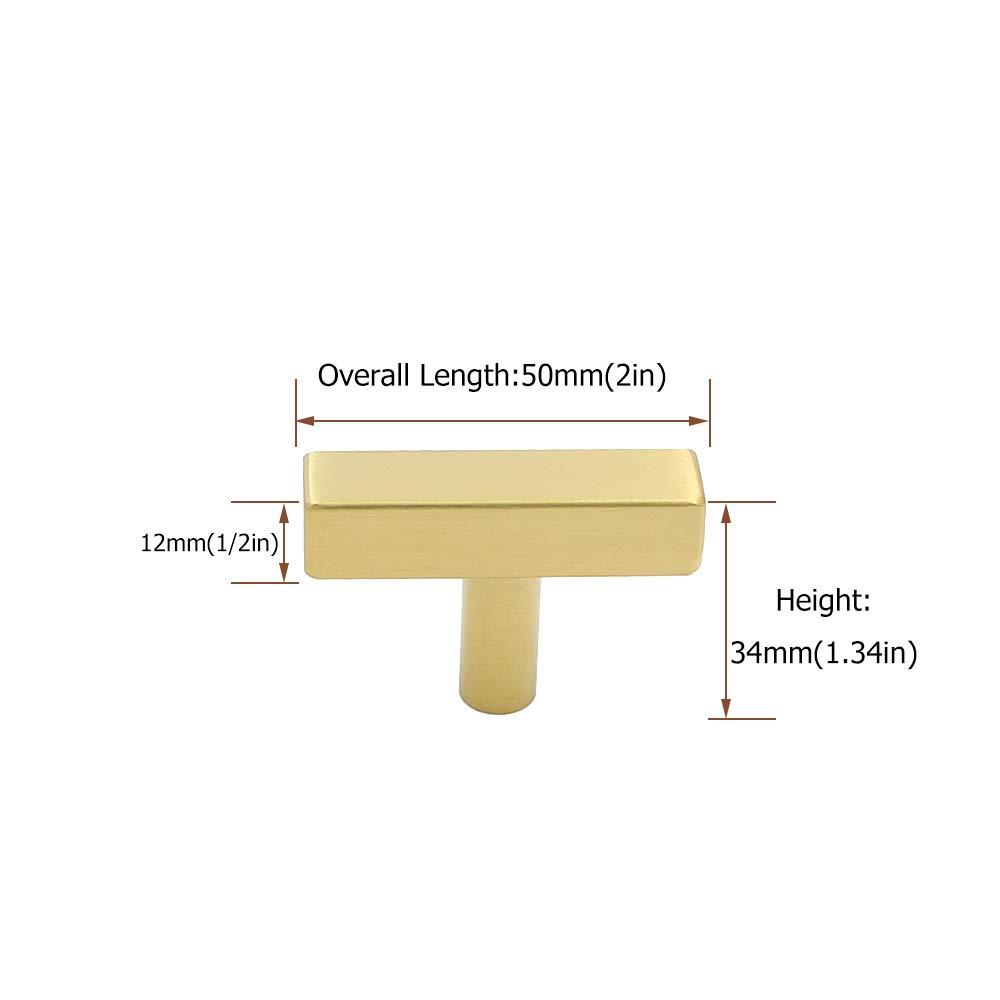 Messing geb/ürstet Unterschrank Schublade zieht Kn/öpfe/ /goldenwarm ls1212gd T Bar quadratisch gold K/üche Schrank T/ür Griff M/öbel Hardware Badezimmer Schrank zieht Edelstahl 10/St/ück