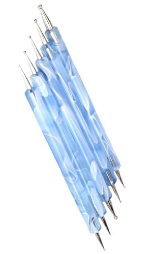 niceeshop(TM) 2 Way Dotting Pen Marbleizing Tool Nail Art Paint (Light Blue,Set of 5)