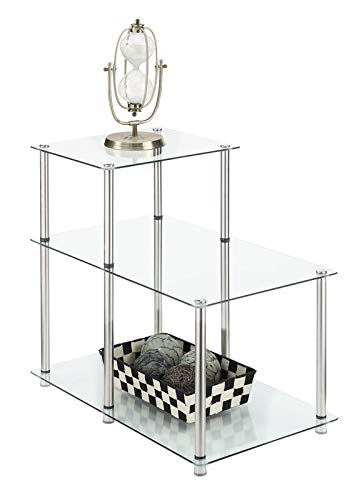 Amazon Com Steel Base L Shaped End Table End Table With 3 Glass