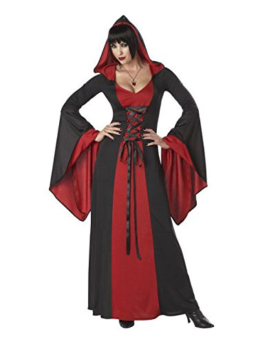 California Costumes Deluxe Hooded Robe Adult Costume, Red/Black, Large