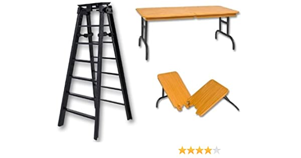 6 Black Ladder & Brown Wood Effect Breakaway Table - Wrestling Figure Accessories (WWE/TNA) by The Wrestling Stall: Amazon.es: Juguetes y juegos