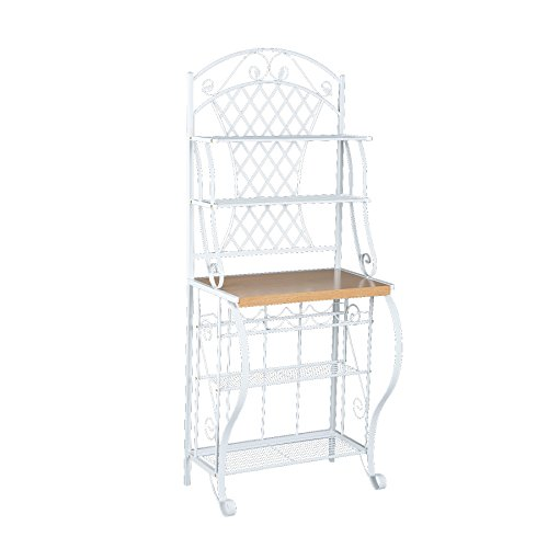 - Trellis Bakers Rack w/ Scroll Work - White Metal Frame & Oak Finish Shelf - Chic Design
