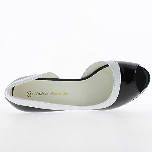 Bianco e nero di dimensioni grandi scarpe chiodo 14cm e tacchi piattaforma